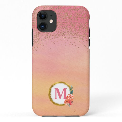 Floral WatercolorPink Yellow Gold Glitter iPhone 11 Case