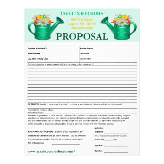 Floral Watering Can Proposal Form Letterhead