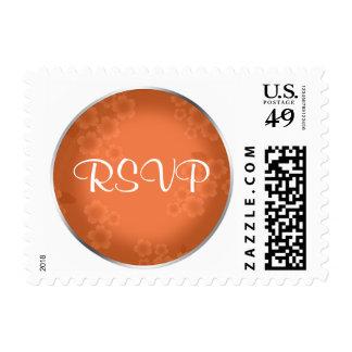 Floral Watermark Coral Orange RSVP Postage