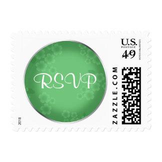 Floral Watermark Jade Green RSVP Postage