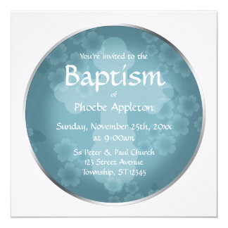Floral Watermark Slate Blue Baptism Invitations