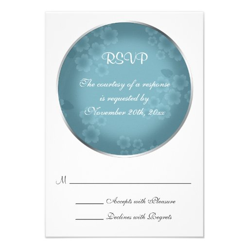 Floral Watermark Slate Blue Wedding RSVP Cards Invites