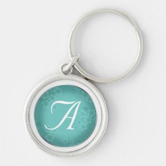 Floral Watermark Turquoise Monogram Keychain