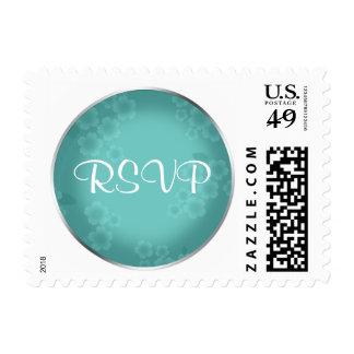 Floral Watermark Turquoise RSVP Postage