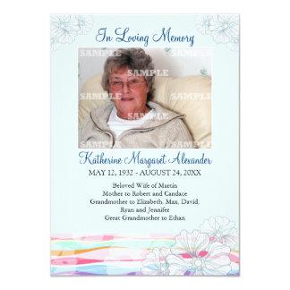 "Floral Waves Blue Memorial Notice 4.5"" X 6.25"" Invitation Card"