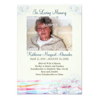 Floral Waves Memorial Notice Card