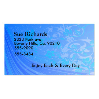 Floral Waves Of Blue Set Double-Sided Standard Business Cards (Pack Of 100)