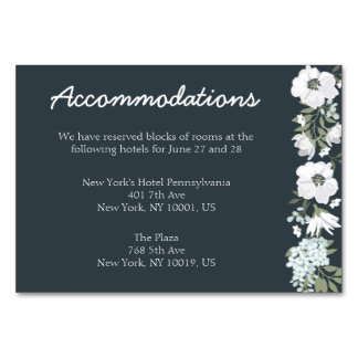 Floral Wedding Accommodation Cards
