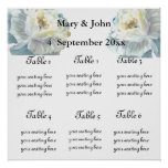"""Floral Wedding """"Blue roses"""" seating chart Posters"""