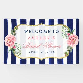 Floral Wedding Bridal Shower Navy Blue Stripes Banner