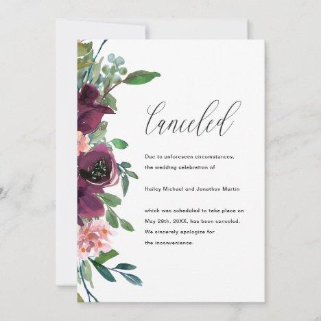 Floral Wedding Cancellation Announcement