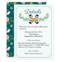 Floral Wedding Directions Green Pink Flowers Boho Card