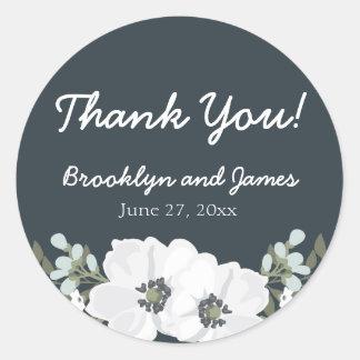 Floral Wedding Favor Stickers Round