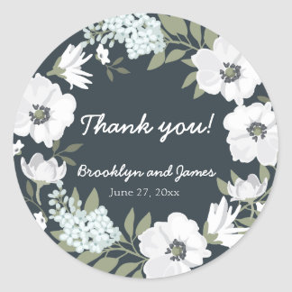 Floral Wedding Favor Stickers Round With Wreath