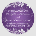 Floral Wedding Favor Tag Exotic Blooms Purple Round Sticker