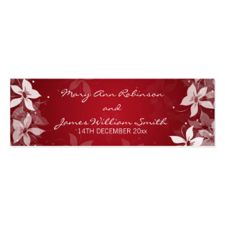 Floral Wedding Favor Tag Exotic Blooms Red Business Cards