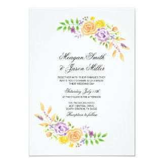 Floral Wedding Flowers Purple Peach Invitations