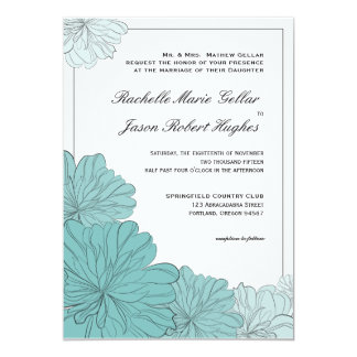 Floral  Wedding Invitation Announcement