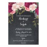 Floral wedding invitation burgundy chalkboard