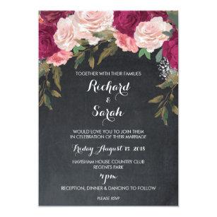 Chalkboard wedding invitations announcements zazzle floral wedding invitation burgundy chalkboard filmwisefo