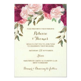 High Quality Floral Wedding Invitation Ivory Pink Burgundy