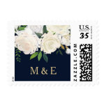 Floral Wedding Invitation Stamp<br><div class='desc'>Floral Wedding Invitation Stamp,  Navy,  White and Pink Flowers,  Editable Text</div>