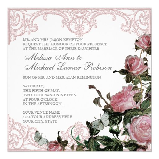 Floral Wedding Invitation - Trellis Rose Vintage