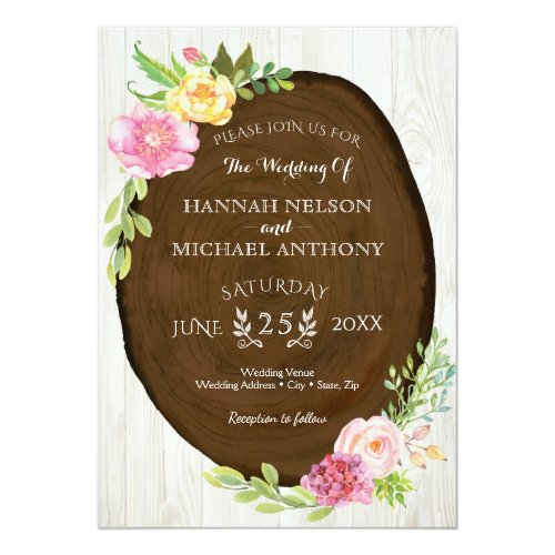 Floral Wedding Invitation - Woodland Watercolor