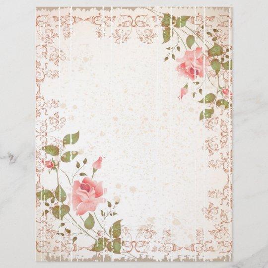 Floral Wedding Letterhead Rose Paper Weddings Zazzle Com