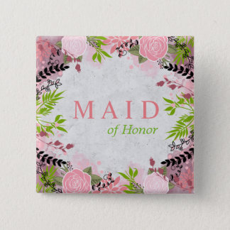 Floral wedding Maid of Honor Button