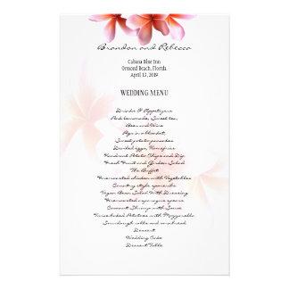 Floral Wedding Menu Pink Plumeria
