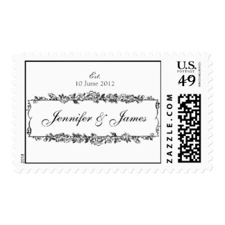 Floral Wedding Names Date Postage Stamps