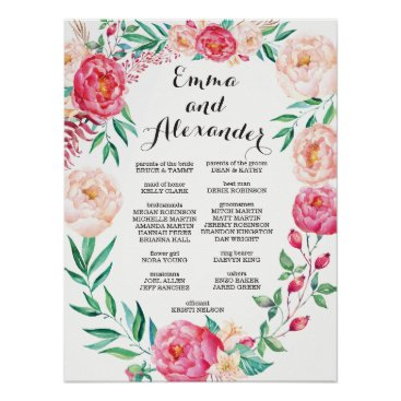 Beach Themed Floral Wedding Party Sign / Welcome Sign