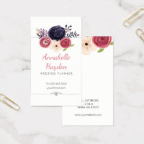 floral wedding planner girly business cards