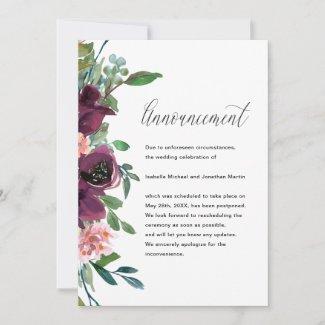 Floral Wedding Postponement Announcement