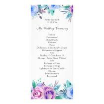 Floral wedding program blue. Boho ceremony card