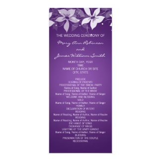 Floral Wedding Program Exotic Blooms Purple