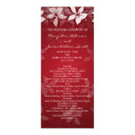Floral Wedding Program Exotic Blooms Red 4x9.25 Paper Invitation Card
