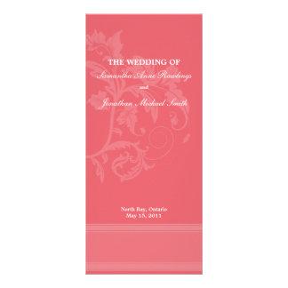 Floral Wedding Program- Honeysuckle Pink Wedding Rack Card