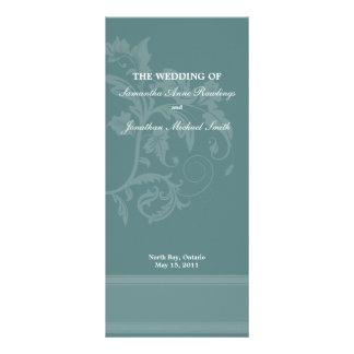 Floral Wedding Program- Turquoise Blue Wedding Rack Card