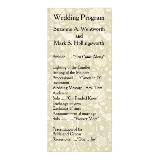 Floral Wedding Programs, Textile, Vintage, Garden Rack Card