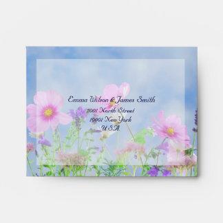 Floral Wedding RSVP Envelopes Wild Flowers A2