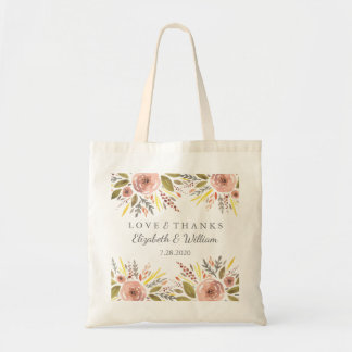 Floral Wedding Rustic Blush Roses Personalized Tote Bag