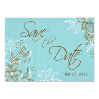 Floral Wedding Save The Date 5x7 Paper Invitation Card