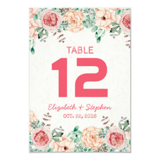 Floral Wedding Seating Place Table Number / Escort