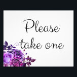 "Floral wedding sign purple. Please take one poster<br><div class=""desc"">Matching items - https://goo.gl/4PZov8 ♥ Contact me,  please,  if you need additional items.</div>"
