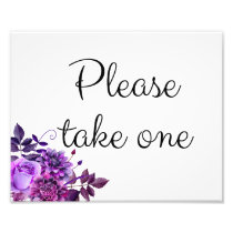 Floral wedding sign purple. Please take one poster