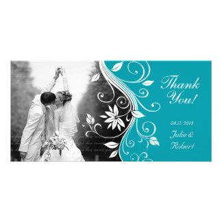 Floral Wedding Thank You Card Custom Blue Photo Card