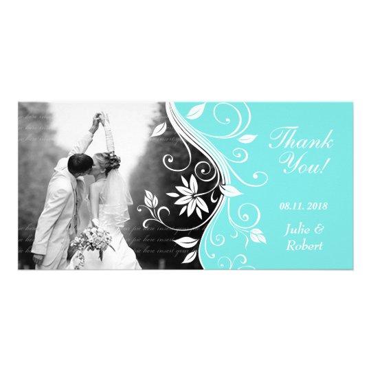 Floral Wedding Thank You Card Custom Blue White