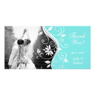 Floral Wedding Thank You Card Custom Blue White Photo Card